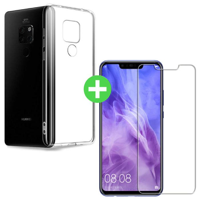 Huawei Mate 20 Pro Transparentes TPU-Gehäuse + Displayschutzfolie aus gehärtetem Glas
