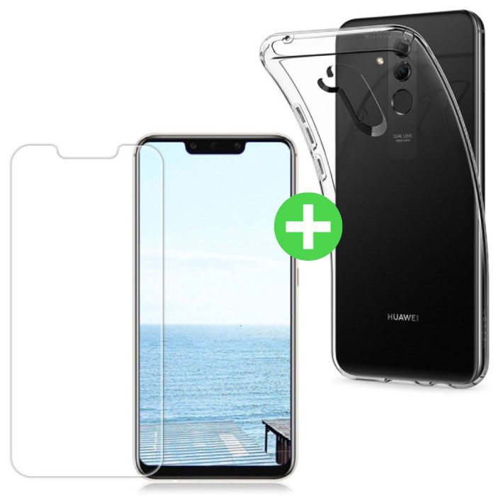 Huawei Mate 20 Lite Transparentes TPU-Gehäuse + Displayschutzfolie aus gehärtetem Glas