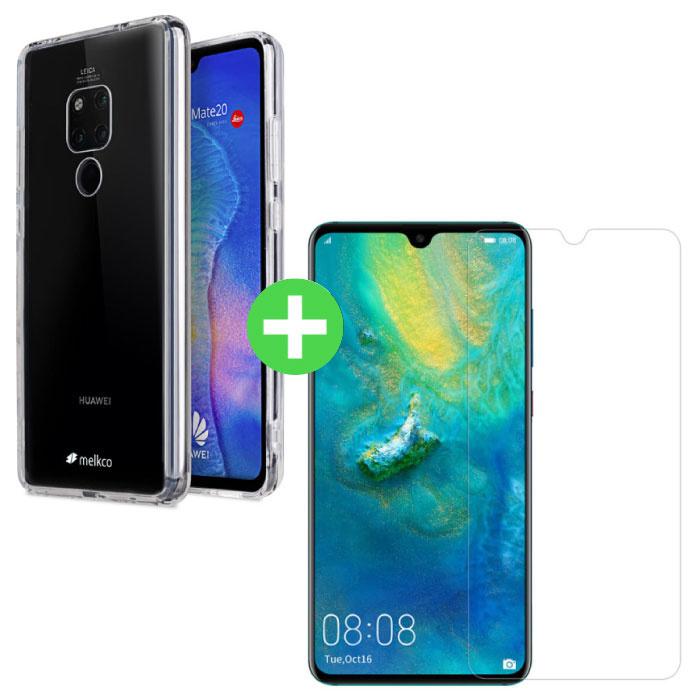 Coque en TPU transparente Huawei Mate 20 + Protecteur d'écran en verre trempé