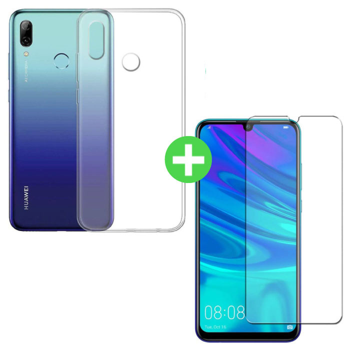Huawei P Smart 2019 Transparant TPU Hoesje + Screen Protector Tempered Glass