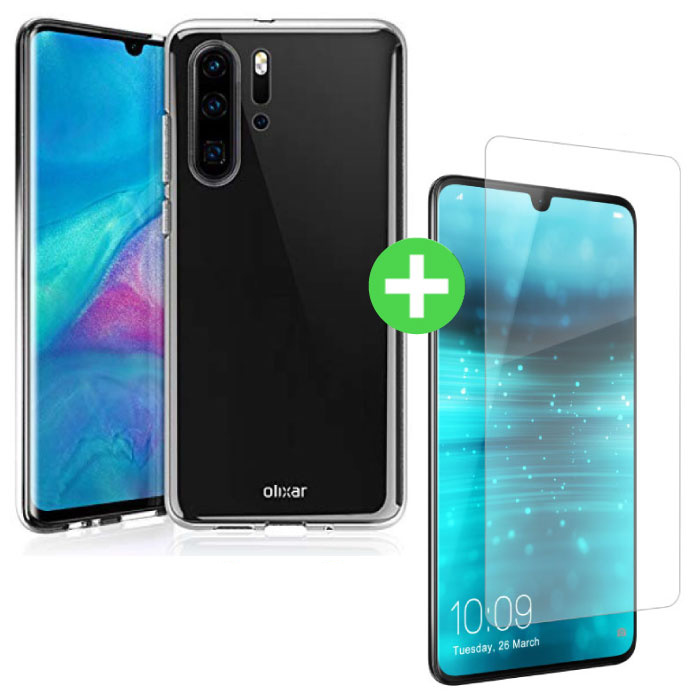 Huawei P30 Pro Transparent TPU Case + Screen Protector Tempered Glass