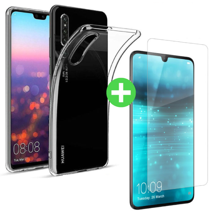 Huawei P30 Lite Transparant TPU Hoesje + Screen Protector Tempered Glass