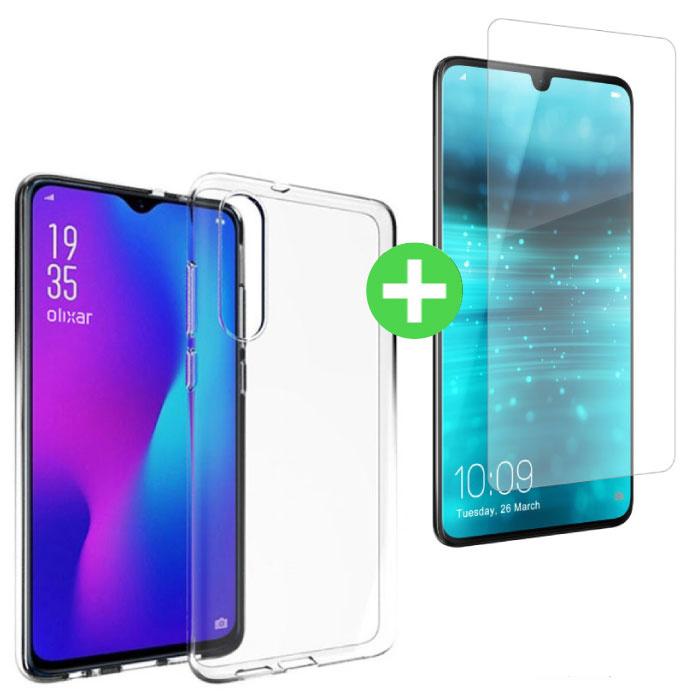 Huawei P30 Transparentes TPU-Gehäuse + Displayschutzfolie aus gehärtetem Glas