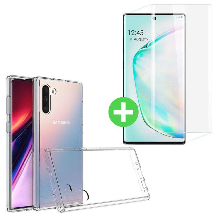 Samsung Galaxy Note 10 Transparentes TPU-Gehäuse + Displayschutzfolie aus gehärtetem Glas