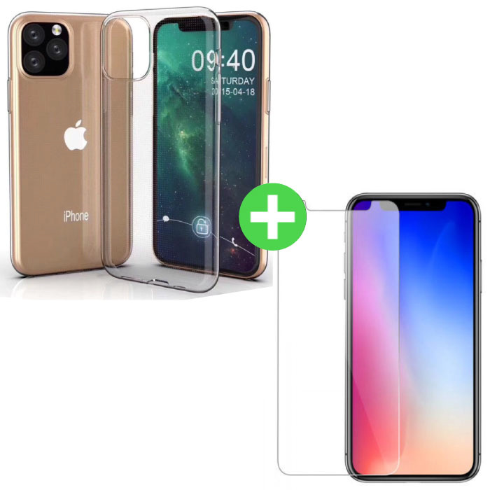 iPhone 11 Pro  Max Transparant TPU Hoesje + Screen Protector Tempered Glass