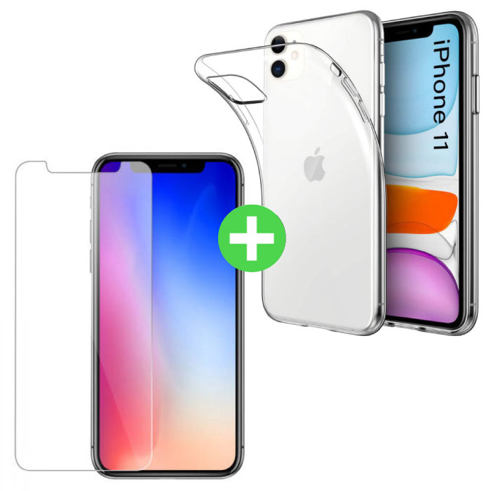 iPhone 11 Transparente TPU-Hülle + Displayschutzfolie aus gehärtetem Glas
