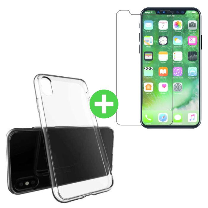 Coque en TPU transparente pour iPhone X + Protecteur d'écran en verre trempé