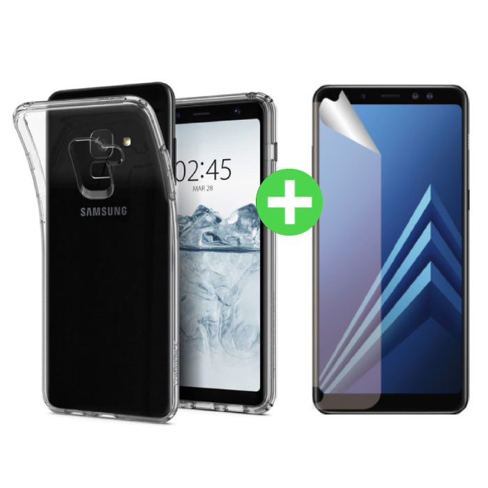 Coque en TPU transparente Samsung Galaxy A8 2018 + feuille de protection d'écran