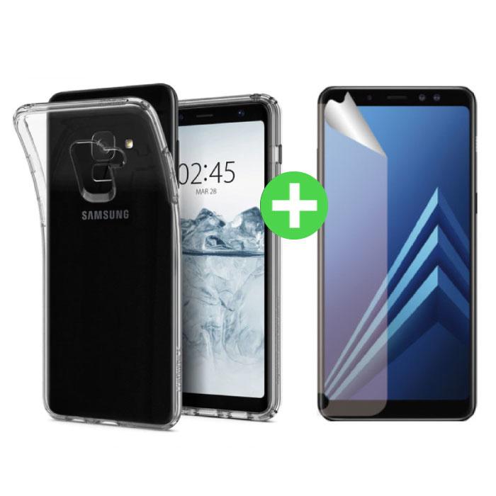 Samsung Galaxy A8 2018 Transparentes TPU-Gehäuse + Displayschutzfolie