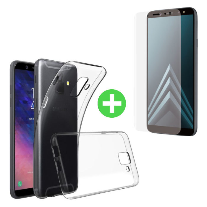 Coque en TPU transparente Samsung Galaxy A6 2018 + feuille de protection d'écran