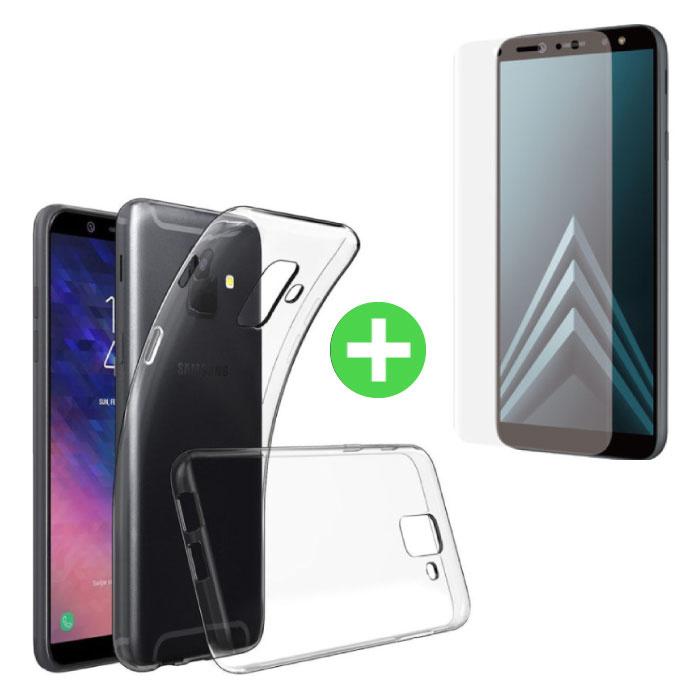 Samsung Galaxy A6 2018 Transparentes TPU-Gehäuse + Displayschutzfolie