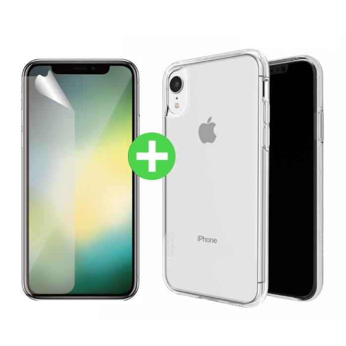Coque en TPU transparente pour iPhone XR + feuille de protection d'écran