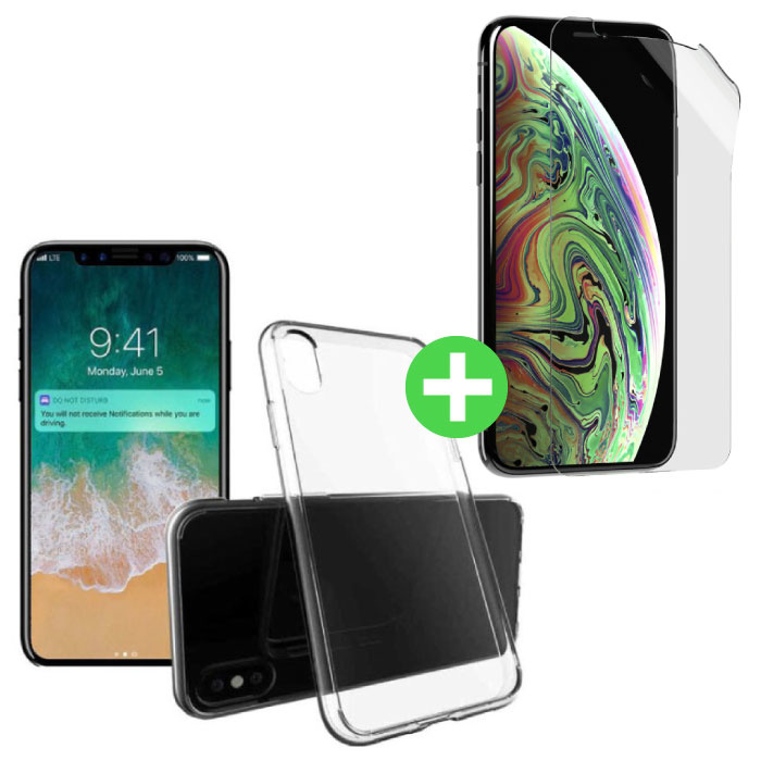 iPhone XS Transparent TPU Case + Screen Protector Foil