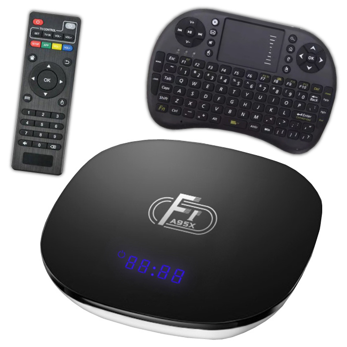 F1 A95X 4K TV-Box Media Player Android Kodi - 2 GB RAM - 16 GB Speicher + drahtlose Tastatur