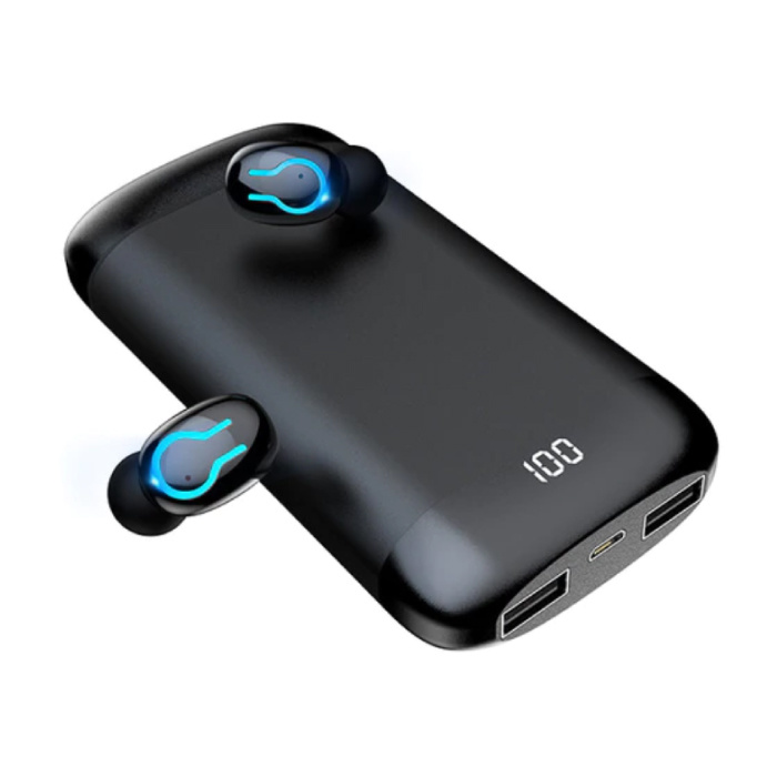 Q66 TWS Wireless Smart Touch Control Oortjes Bluetooth 5.0 In-Ear Wireless Buds Koptelefoon Oordopjes 6000 mAh Powerbank Zwart