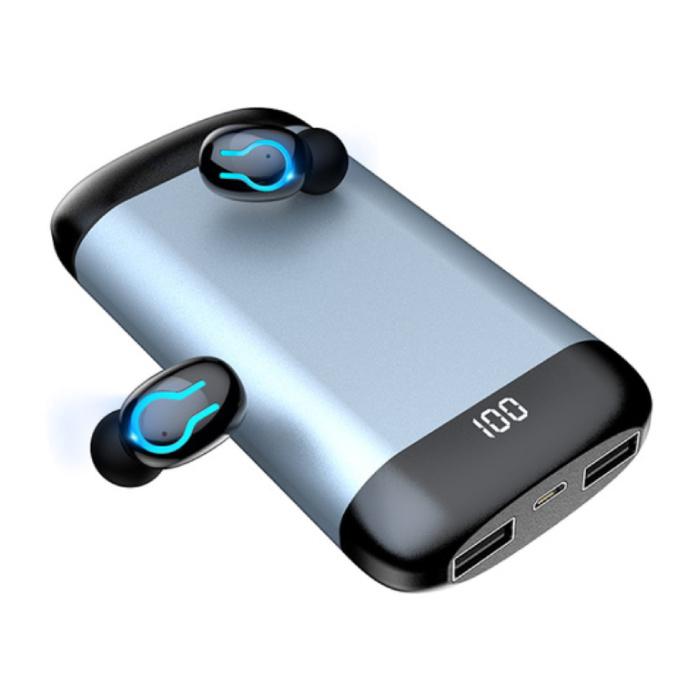 Q66 TWS Wireless Smart Touch Control Earphones Bluetooth 5.0 Air Wireless Pods Earphones Earbuds 6000mAh Powerbank Gray