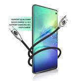 iHaitun USB-C Oplaadkabel 1.2 Meter Quick Charge 4.0 Gevlochten Nylon Oplader Data Kabel Android  Zwart