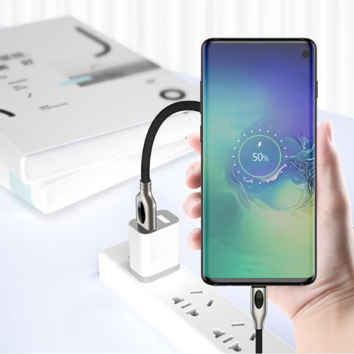 iHaitun USB-C Oplaadkabel 1.8 Meter Quick Charge 4.0 Gevlochten Nylon Oplader Data Kabel Android  Zwart