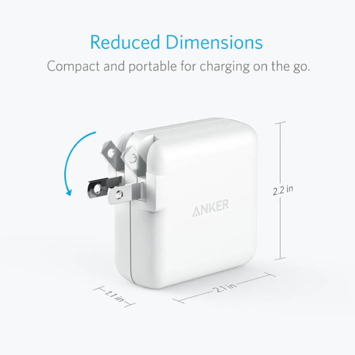 ANKER Elite Dual Port Muur Oplader Wallcharger AC Thuislader Stekkerlader Adapter Wit