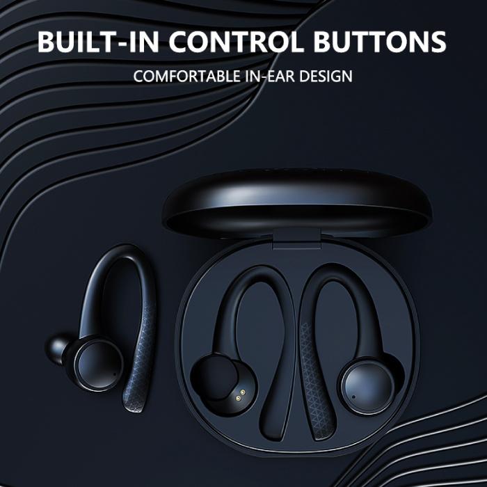 Caletop Sport TWS Draadloze Smart Touch Control Koptelefoon Bluetooth 5.0 In-Ear Draadloze Buds Koptelefoon Oordopjes 400 mAh Zwart
