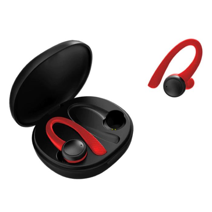 Sport TWS Smart Wireless Touch Control écouteurs Bluetooth 5.0 sans fil Cosses Air Écouteurs Oreillettes 400mAh Rouge