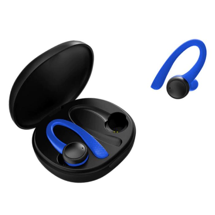 Sport TWS Smart Wireless Touch Control écouteurs Bluetooth 5.0 sans fil Cosses air écouteurs Earbuds 400mAh Bleu