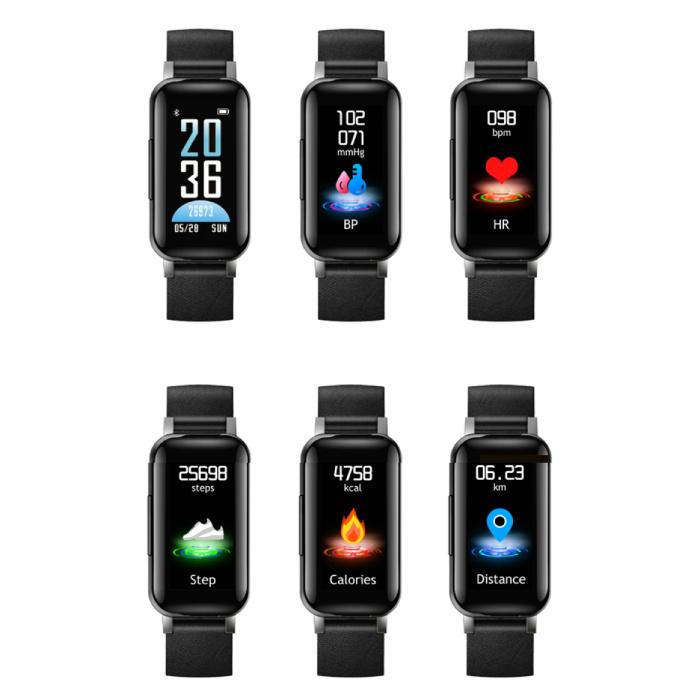 Lemfo T89 SmartWatch Activité Tracker + TWS sans fil écouteurs sans fil écouteurs Sport Fitness iOS Android Noir