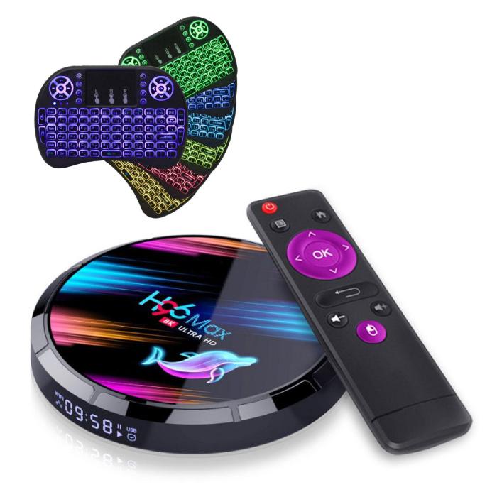 H96 Max 8K TV-Box Media Player Android Kodi - 4 GB RAM - 128 GB Speicher + drahtlose Tastatur