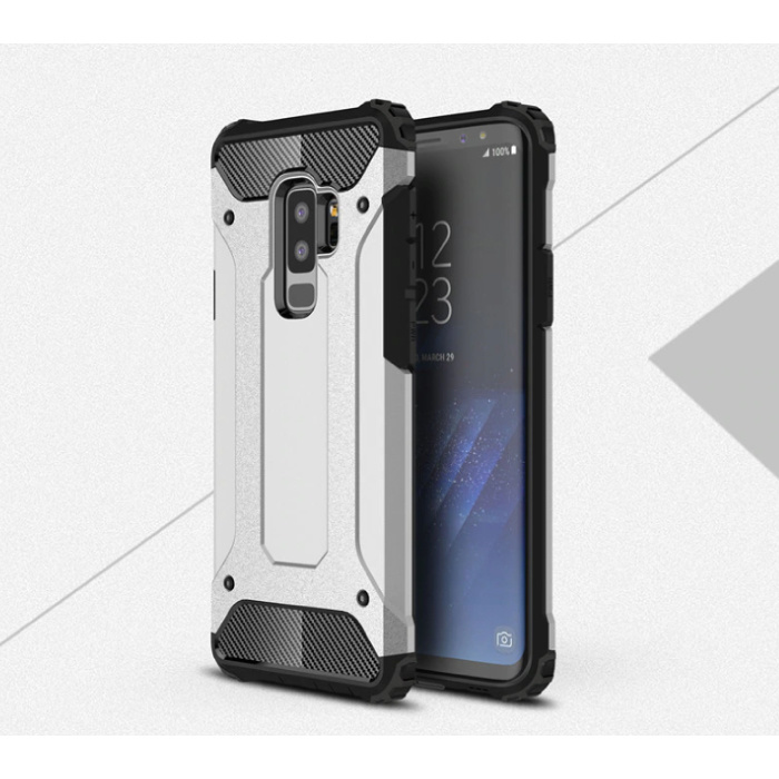 Samsung Galaxy S9 Plus - Armor Case Cover Cas TPU Hoesje Zilver