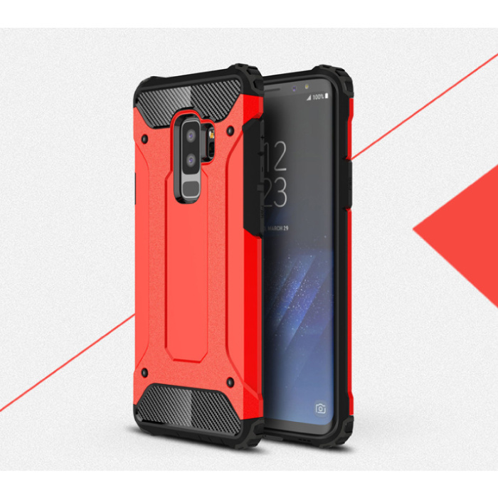 Samsung Galaxy S6 Edge - Armor Case Cover Cas TPU Case Rouge