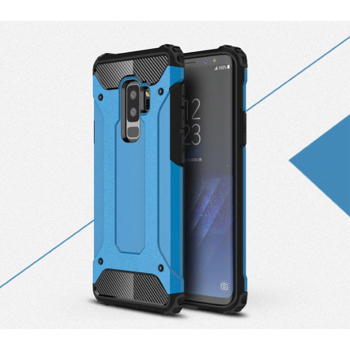 Samsung Galaxy S9 - Armor Case Cover Cas TPU Hoesje Blauw