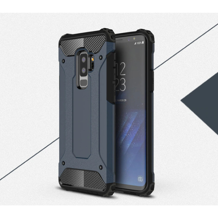 Samsung Galaxy S9 Plus - Armor Case Cover Cas TPU Hoesje Navy