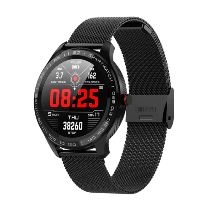 Sports Smartwatch Fitness Sport Activity Tracker Smartphone Horloge iOS Android IP68 iPhone Samsung Huawei Zwart Staal