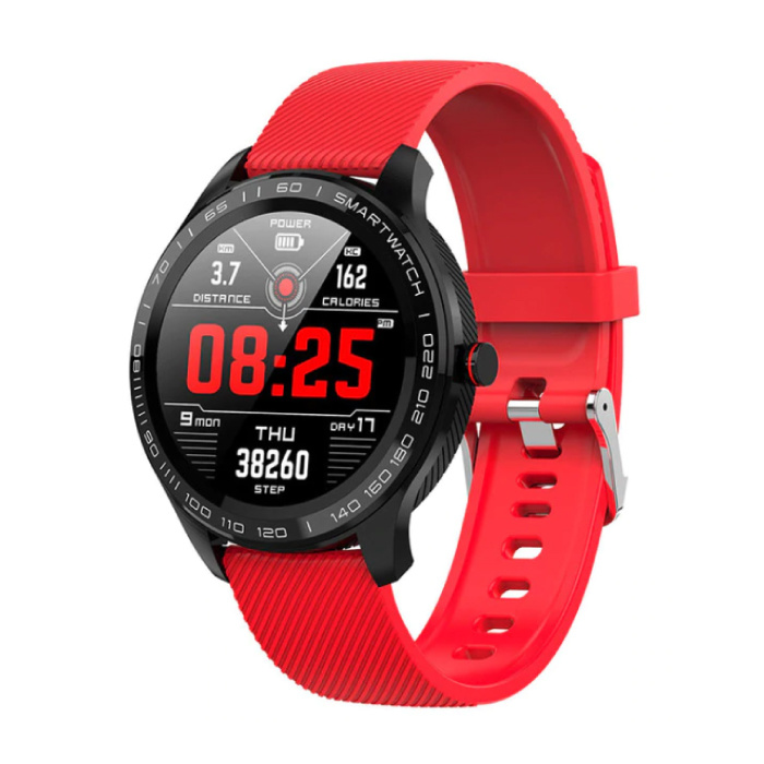 Sport Smartwatch Fitness Sport Aktivität Tracker Smartphone Uhr iOS Android IP68 iPhone Samsung Huawei Red Silicone