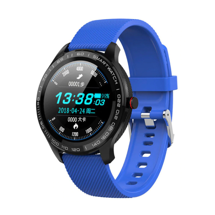 Sports Smartwatch Fitness Sport Activity Tracker Smartphone Horloge iOS Android IP68 iPhone Samsung Huawei Blauw Silicone