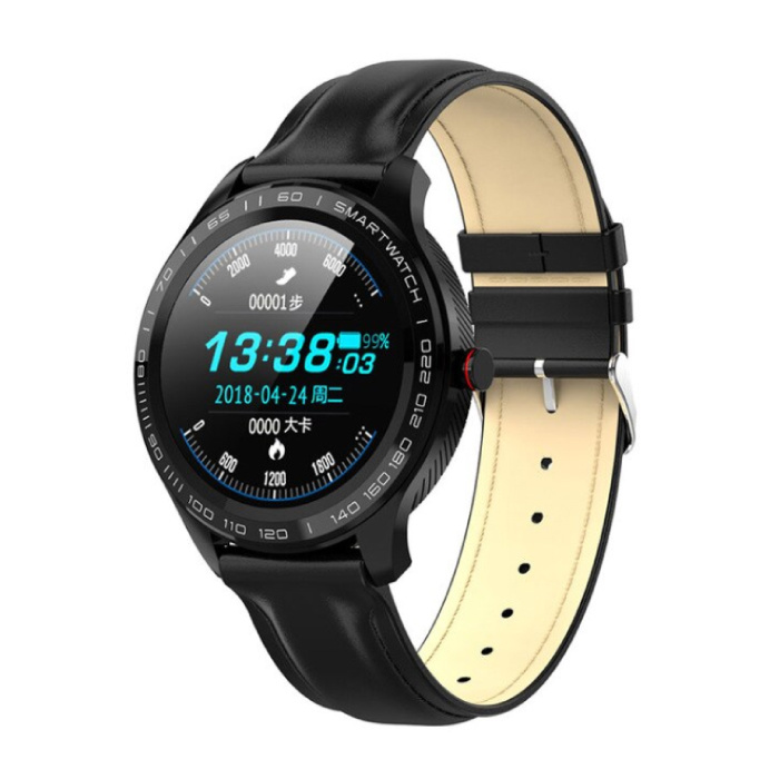 SmartWatch Sports Fitness Sport Activity Tracker iOS Android Smartphone Watch IP68 iPhone Samsung Huawei Black Leather