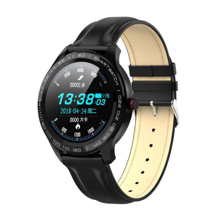 Sport Smartwatch Fitness Sport Aktivität Tracker Smartphone Uhr iOS Android IP68 iPhone Samsung Huawei Schwarzes Leder