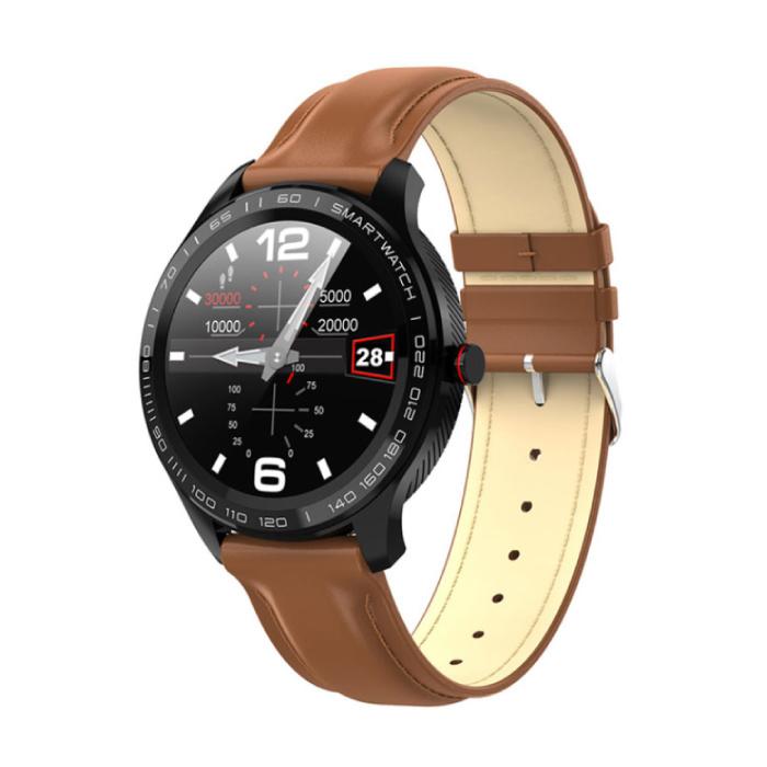 L9 Sport Smartwatch Fitness Sport Aktivität Tracker Smartphone Uhr iOS Android IP68 iPhone Samsung Huawei Brown Leder