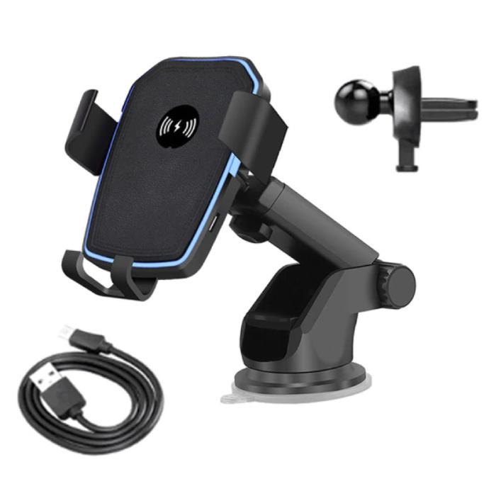 Stuff Certified® 10W Qi Wireless Autoladegerät mit Armhalter Ladegerät Universal 9V - 1A Wireless Autoladepad Schwarz