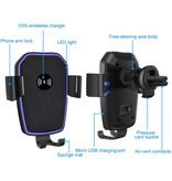 Stuff Certified® 10W Qi chargeur sans fil avec bras Holder Chargeur universel 9V - 1A voiture sans fil de charge Pad Noir