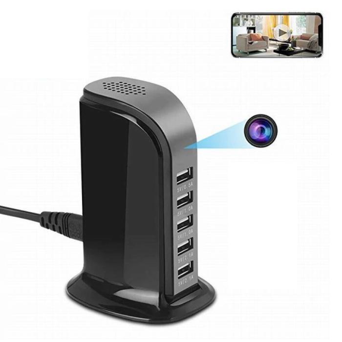 Station de charge USB avec caméra de sécurité intégrée Chargeur mural 5 ports Chargeur secteur Chargeur secteur