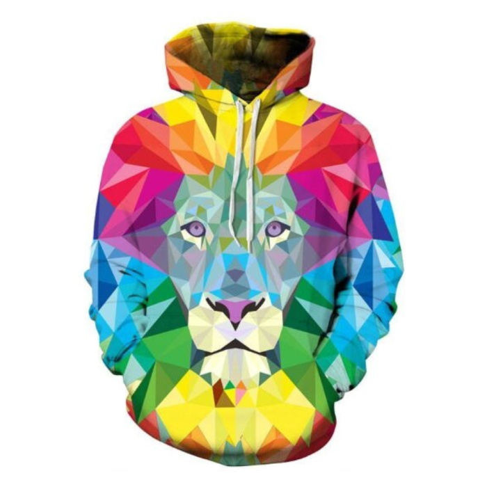 Hoodie Sweater Sweater with Hood (Small) - Lion Color Print
