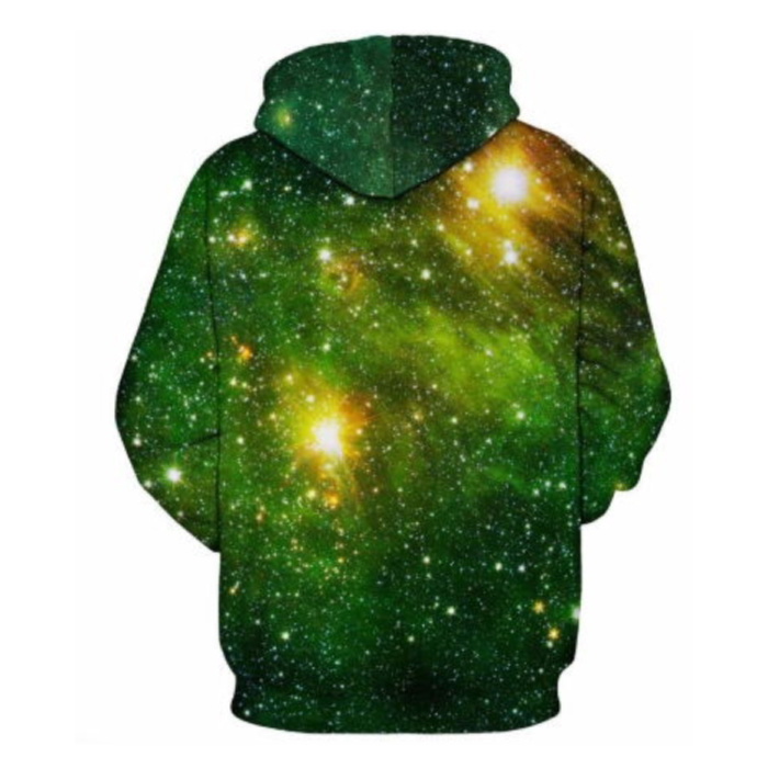 Stuff Certified® Hoodie Sweater Trui met Kap (Small) - Green Galaxy Print
