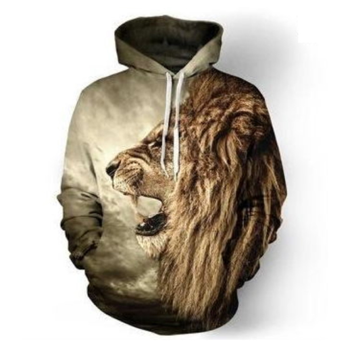 Hoodie Sweater Pullover with Hood (Small) - Lion Print