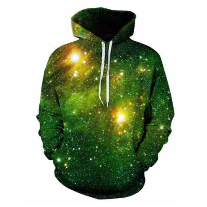 Hoodie Sweater Pullover with Hood (Medium) - Green Galaxy Print