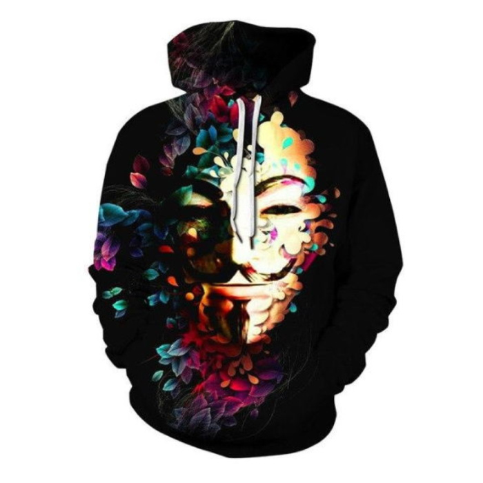 Hoodie Sweater Pullover with Hood (Large) - Anonymous Print