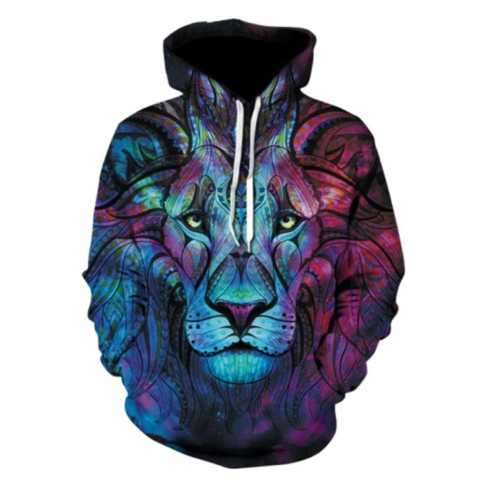 Hoodie Sweater Pullover with Hood (Large) - Dark Lion Print
