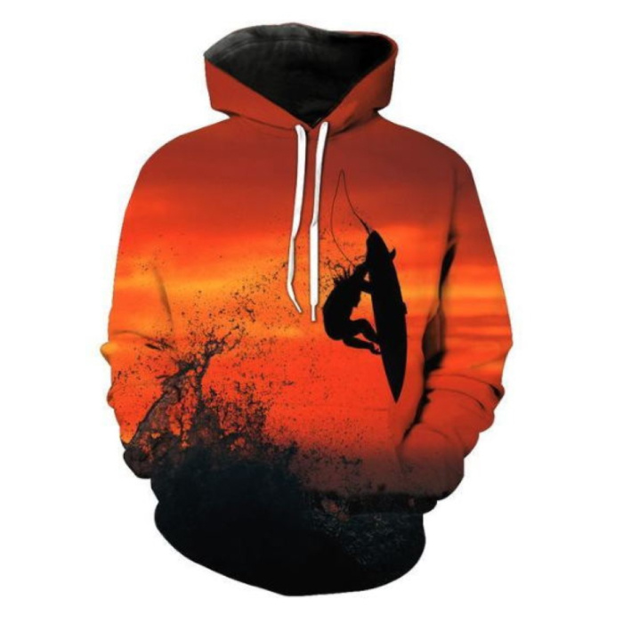 Hoodie Sweater Sweater with Hood (Large) - Surfing Print