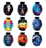 Stuff Certified® Hoodie Sweater Trui met Kap (Large) - Blue Galaxy Print