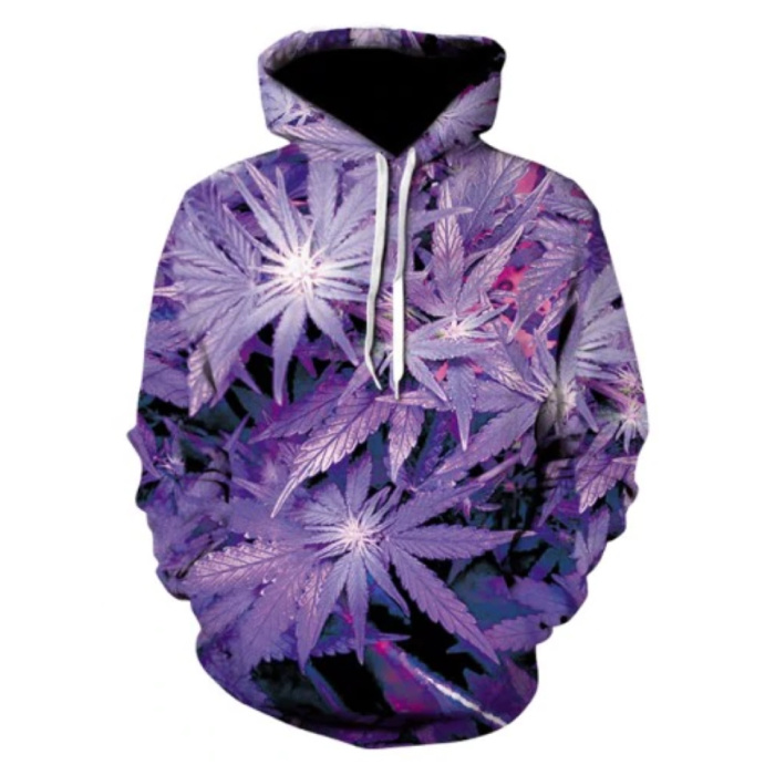 Hoodie Sweater Sweater with Hood (Large) - Leaves Print